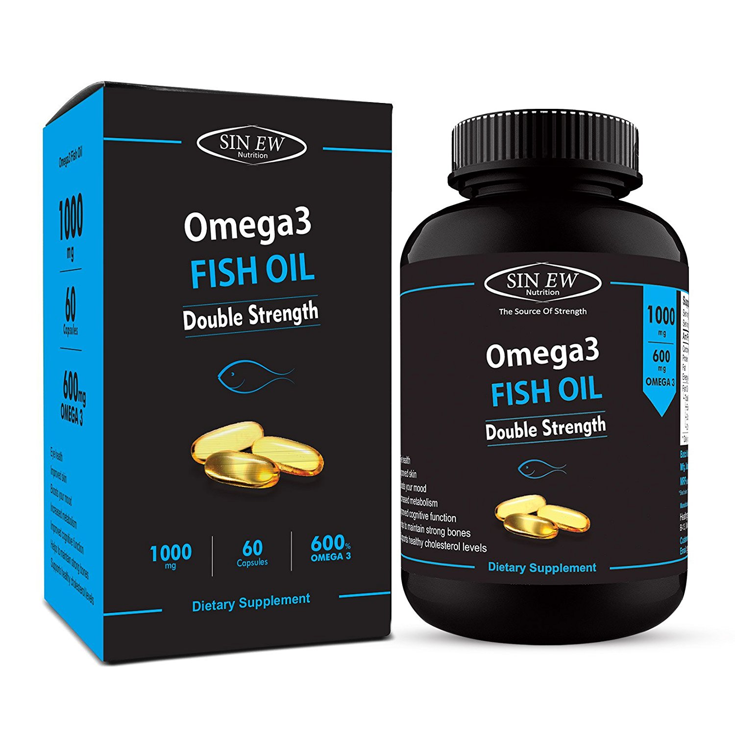 Sinew Nutrition Omega 3 Fish Oil (300EPA & 200DHA) 1000mg (Double Strength) – 60 Softgels