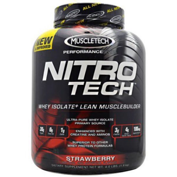 Muscletech Nitro Tech Whey isolate Lean Muscle Builder Performance Series Strawberry 4 lb