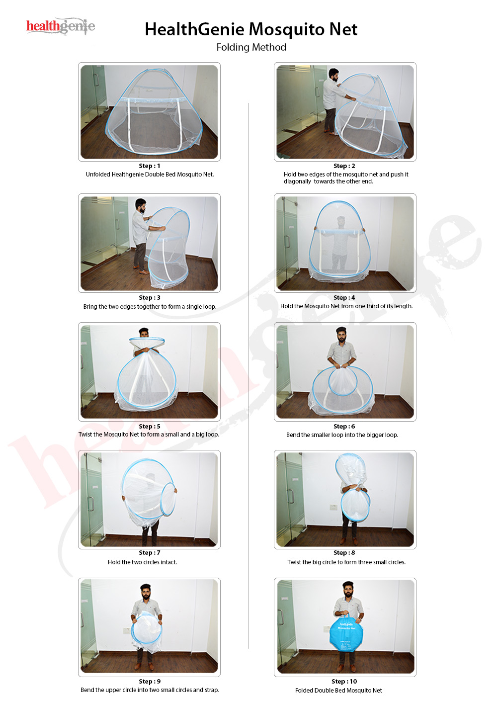 Buy Healthgenie Foldable Mosquito Net Double Bed White