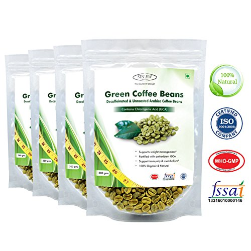 Sinew Nutrition Green Coffee Beans 200gm (Pack of 4) Decaffeinated & Unroasted Arabica Coffee for weight management | Healthgenie.in
