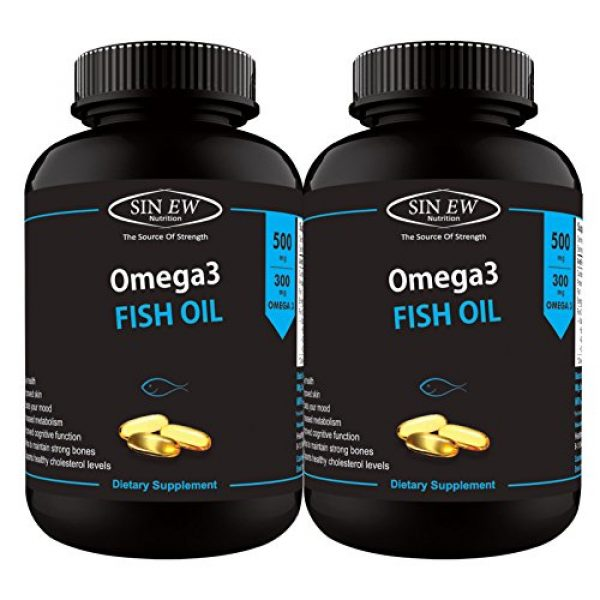 Sinew-Nutrition-Omega-3-Fish-Oil-500mg-150EPA-&-100DHA-60-Softgels-Pack-of-2