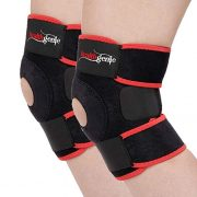 Healthgenie Adjustable Knee Support Patella - 1 Pair with Free Size Fits Most (Black)