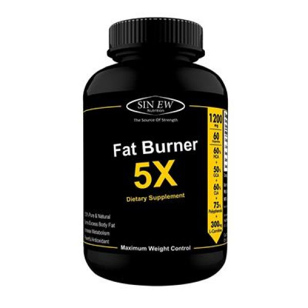 Sinew Nutrition Natural Fat Burner 5x (green Tea, L Carnitine, Conjugated Linoleic Acid, Green Coffee & Garcinia Cambogia Extract) 1200 Mg (60 Veg Capsules)