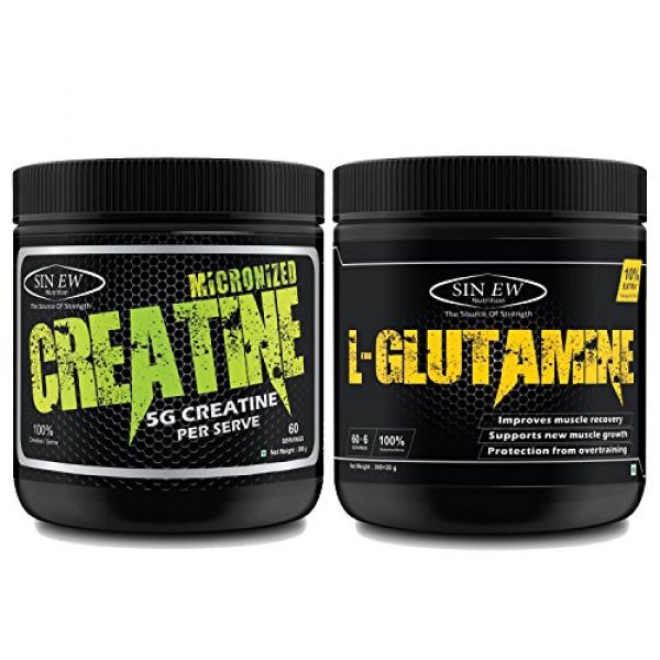 Sinew Nutrition Micronised Creatine Monohydrate 300 G With 100% Pure L Glutamine Powder 330 G