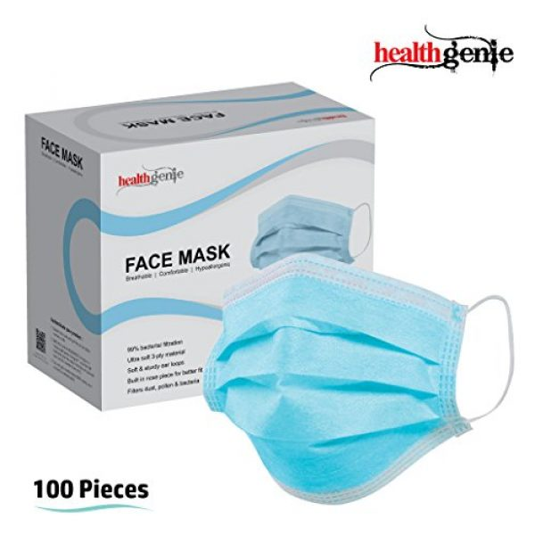 Healthgenie Disposable Elastic 3 Ply Face Mask 100 Pieces (blue)