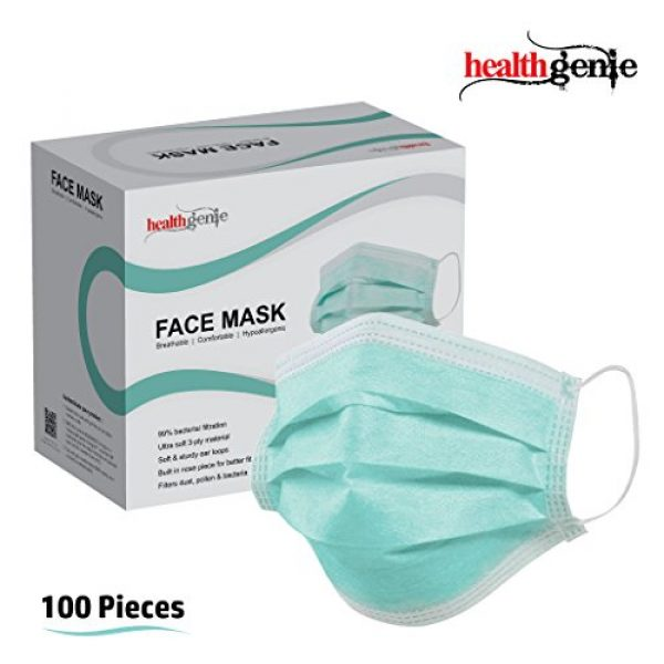 Online In amp; India green At in Compare Elastic Buy Healthgenie Best - Healthgenie 100 Disposable Price Face Pieces Mask 3-ply
