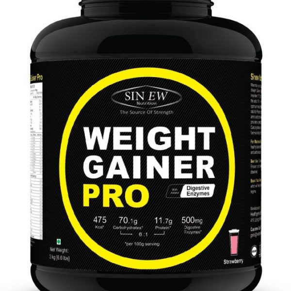 Sinew Nutrition Weight Gainer Pro With Digestive Enzymes, Strawberry Weight Gainers/mass Gainers(3 Kg, Strawberry)