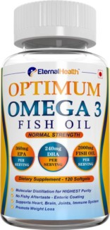 EternalHealth Omega 3 Fish Oil Capsules – Molecularly Distilled For Purity (360mg EPA, 240mg DHA – Total Omega 3 Fatty Acids Per Serving) For Brain, Heart, Immunity & Weight Loss Support – 120 Softgel