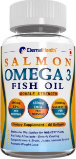 EternalHealth Salmon Omega 3 Fish Oil ( Double Strength ) – 60 Softgel 1000 mg Natural