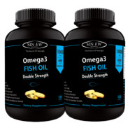 Sinew Nutrition Omega 3 Fish Oil (300EPA & 200DHA) 1000mg (Double Strength) – 120 Softgels (Pack of 2)