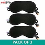 Healthgenie 100% Silk, Super Smooth Sleep Mask with Adjustable Strap and Blind Fold Eye Mask (Black) – Pack of 3