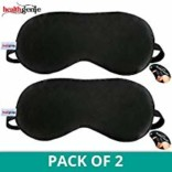 Healthgenie 100% Silk, Super Smooth Sleep Mask with Adjustable Strap and Blind Fold Eye Mask (Black) – Pack of 2
