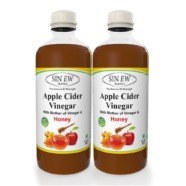Sinew Nutrition Raw Apple Cider Vinegar with Mother and Honey 500ml (Pack of 2) Unfiltered & Unpasteurised