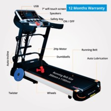 Healthgenie 6in1 Motorized Treadmill 4612A with Auto Inclination, Massager, Sit-ups, Tummy Twister, Dumbbells, & Silicone Lubricant 550ml, 2.0 HP DC Motor, Max Speed 16 Kmph