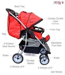 Ador Luxe Baby Stroller 55 Red