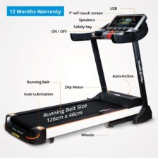 Healthgenie Commercial Motorized Treadmill 4612C with Auto Inclination  Lubrication, 2.0 HP AC Motor, Max Speed 16 Kmph