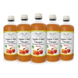 Sinew Nutrition Raw Apple Cider Vinegar with Mother and Honey 500ml (Pack of 5) Unfiltered & Unpasteurised