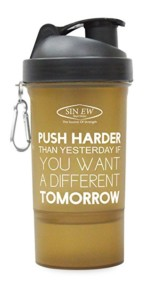 Sinew Nutrition Shaker with 1 Extra Compartment (Brown) Push Harder