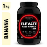 Sinew Nutrition Elevate Mass Gainer, Complex Carb & Proteins in 3:1 ratio with DigiEnzymes, 1kg / 2.2lb – Banana Flavor