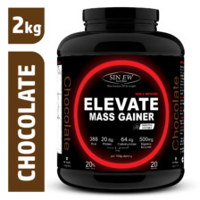 Sinew Nutrition Elevate Mass Gainer, Complex Carb & Proteins in 3:1 ratio with DigiEnzymes, 2kg / 4.4lb – Chocolate Flavor