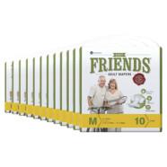 Friends Adult Diaper Basic (Medium) – Case of 12 diaper packs (120 diapers total)