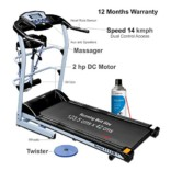 > Healthgenie 7in1 Motorized Treadmill 4112M with Massager, Sit-ups, Tummy Twister, Dumbbells, Resistant Tubes & Silicone Lubricant 550ml, Max Speed 14 Kmph