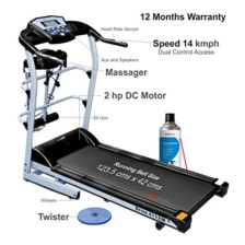 Healthgenie 7 in 1 Motorized Treadmill 4112M with Massager, Sit-ups, Tummy Twister, Dumbbells, Resistant Tubes & Silicone Lubricant 550ml, Max Speed 14 Kmph