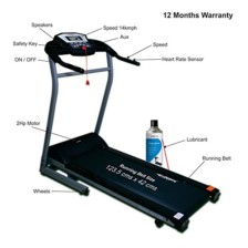 Healthgenie Drive 4012M Motorized Treadmill with Silicone Lubricant 550ml, Manual Incline & Max Speed 14 Kmph – 12 Months Warranty