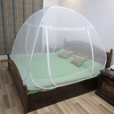 Healthgenie Mosquito Net Single Bed foldable with Patch, White