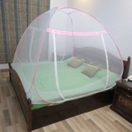 Healthgenie Mosquito Net Double Bed foldable with Patch, Pink
