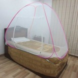 Healthgenie Foldable Mosquito Net Single Bed – Pink, With Repair Kit of 7 Patches Included