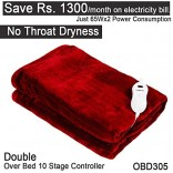 Healthgenie Red Electric Blanket OVERBED 180x130cms , 10 Stage Temp Controller, OBD 305 washable