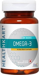 HealthKart Omega 3 1000mg (with 180mg EPA and 120mg DHA) Fish Oil Supplement- 90 Softgels