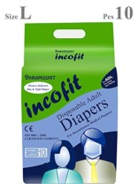 Incofit Premium Adult Diapers-Large, Pack of 10