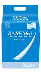 Kare Med Adult Unisex Diapers – (waist size: 76cm to 114cm or 30″ – 45″, 10 Diapers ) (Pack of 2)