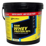 MuscleBlaze 80% Whey Protein Supplement Powder, 4 kg (Unflavoured)