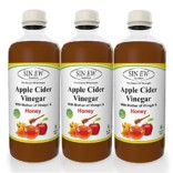 Sinew Nutrition Raw Apple Cider Vinegar (Unfiltered & Unpasteurised) with strand of Mother and Honey 500ml (Pack of 3)