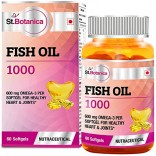St.Botanica Fish Oil 1000 mg (Double Strength) with 600 mg Omega 3 – 60 Softgels (330mg EPA, 220mg DHA)